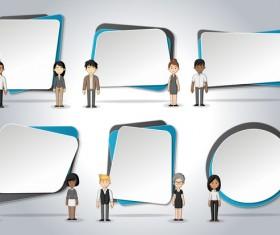 Cartoon people with paper banner vectors 09