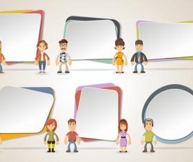 Cartoon people with paper banner vectors 10