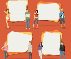 Cartoon people with paper banner vectors 11