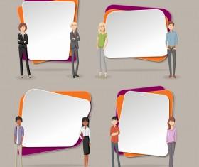 Cartoon people with paper banner vectors 12