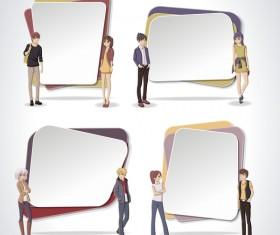 Cartoon people with paper banner vectors 13