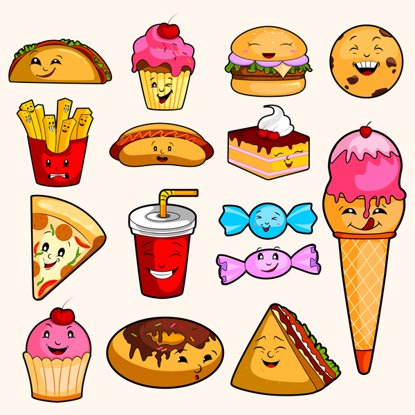 Cartoon sweet food vector