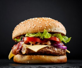 Cheese bacon vegetables hamburger Stock Photo