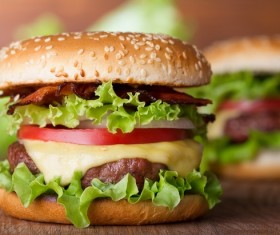 Cheese vegetable hamburger Stock Photo