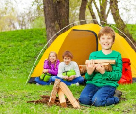 Children camping in the wild Stock Photo 01
