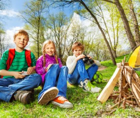 Children camping in the wild Stock Photo 02