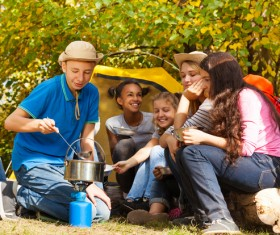 Children camping in the wild Stock Photo 03