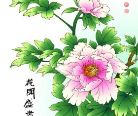 Chinese peony hand drawing vectors 01