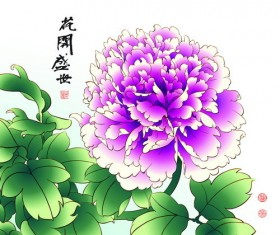 Chinese peony hand drawing vectors 02