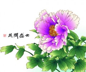 Chinese peony hand drawing vectors 06