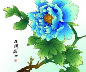 Chinese peony hand drawing vectors 07