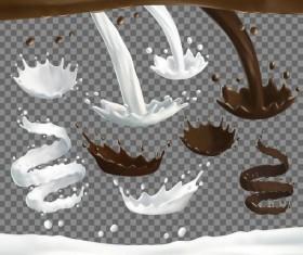 Chocolate with milk splashes vectors 02