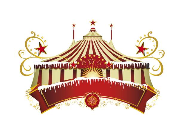 Christmas circus border vector