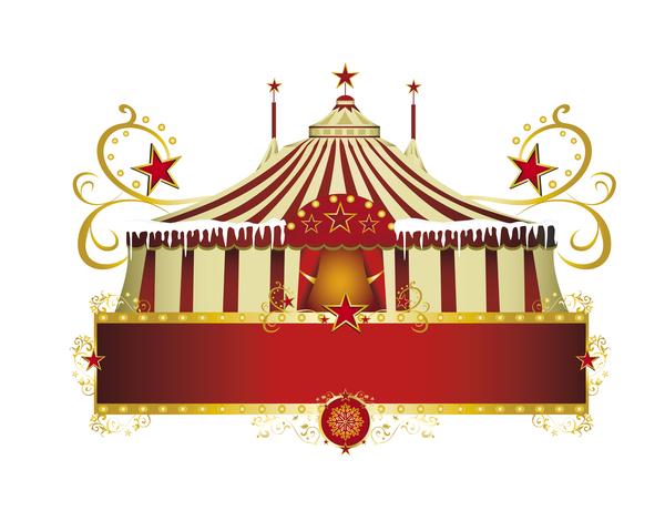 Christmas circus frame vector