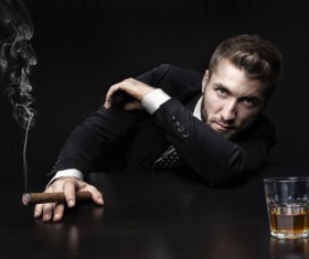 Cigar smoking man Stock Photo 08