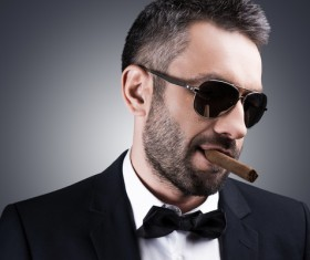 Cigar smoking man Stock Photo 09
