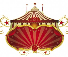 Circus red signboard vector
