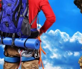 Climbers rucksack Stock Photo