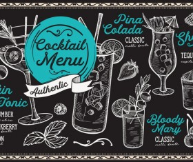 Cocktail alcohol bar drink menu vector template