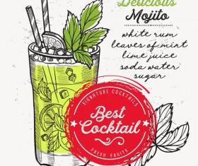 Cocktail with drink menu template design vector 01