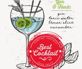 Cocktail with drink menu template design vector 02