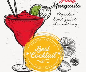 Cocktail with drink menu template design vector 03