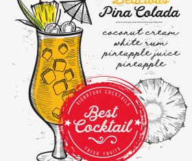 Cocktail with drink menu template design vector 04