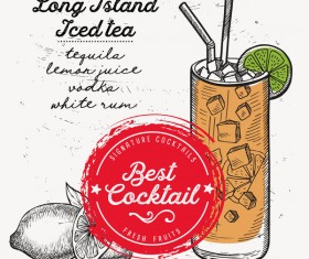 Cocktail with drink menu template design vector 05