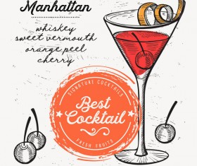Cocktail with drink menu template design vector 06