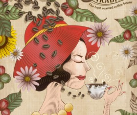 Coffee poster with girl background vectors 01