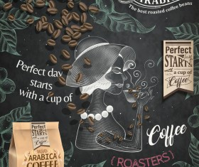 Coffee poster with girl background vectors 02