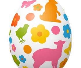 Colored easter egg with cute animal vector 01