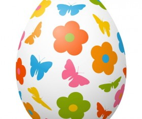Colored easter egg with cute animal vector 02