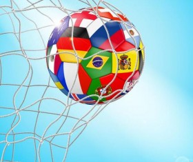 Colored soccer with net vector