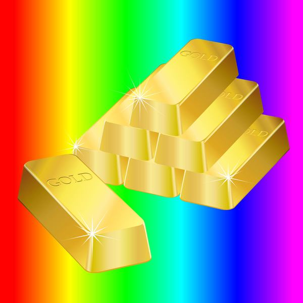 Colorful background with gold bar vector