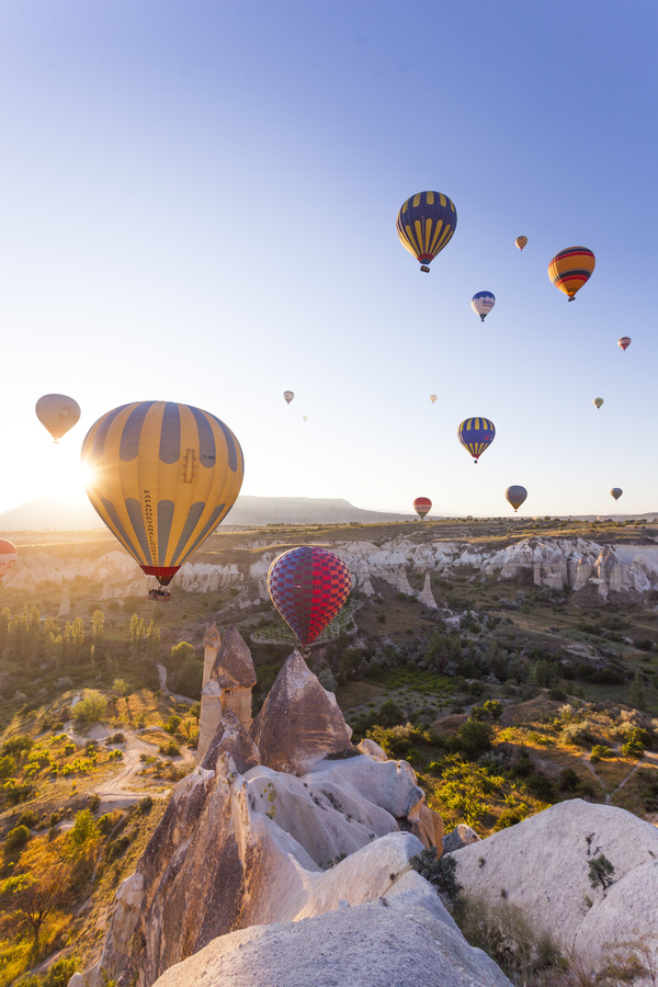 Colorful balloons flying towards the sun Stock Photo