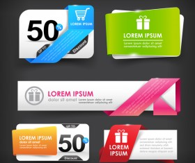 Colorful web tag banner promotion sale discount style vector