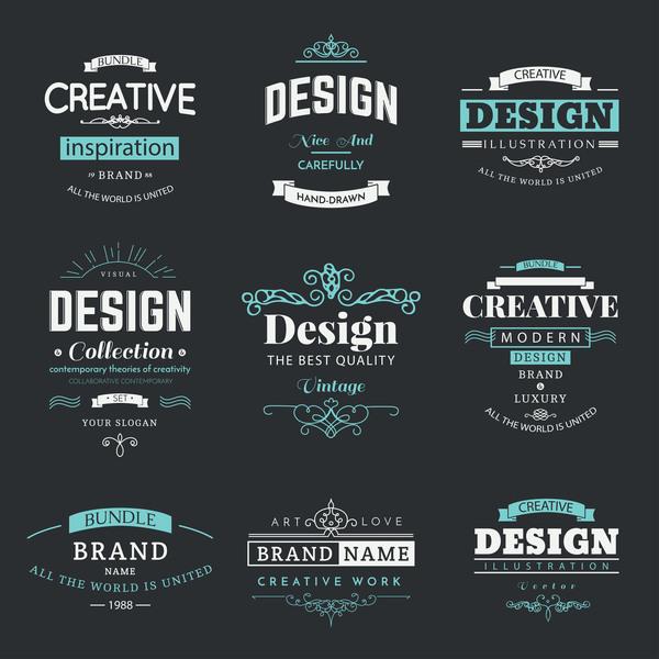 Creative decor labels vector