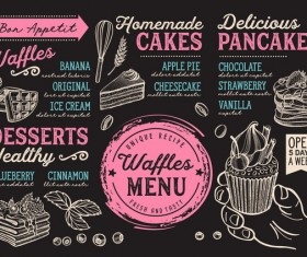Crepes waffles food menu dessert vector