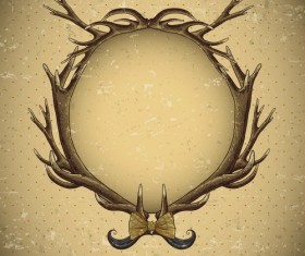 Cricles deer antlers with vintage background vector 01
