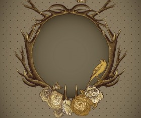 Cricles deer antlers with vintage background vector 02