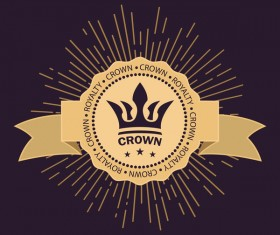 Crown retro label template vector 01