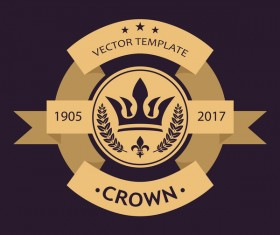Crown retro label template vector 02