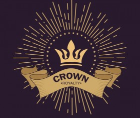 Crown retro label template vector 03