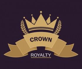 Crown retro label template vector 04