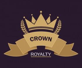 Crown retro label template vector 04