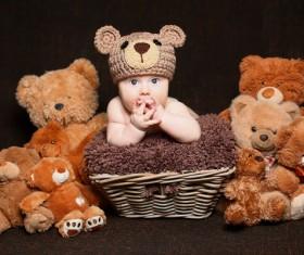 Cute baby and teddy bear Stock Photo 01