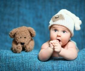 Cute baby and teddy bear Stock Photo 02