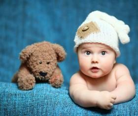 Cute baby and teddy bear Stock Photo 03