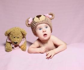 Cute baby and teddy bear Stock Photo 04